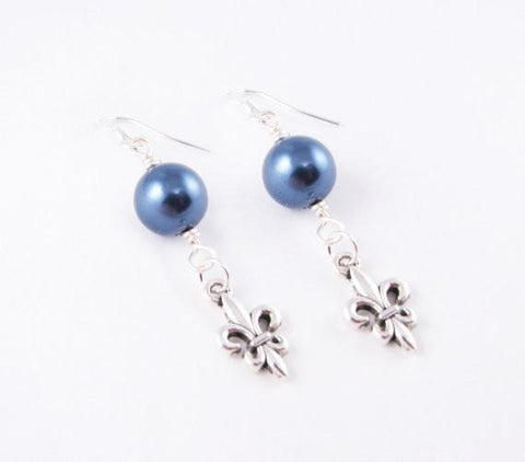 Fleur De Lis Pearl Silver Earrings - Jewelrylized.com