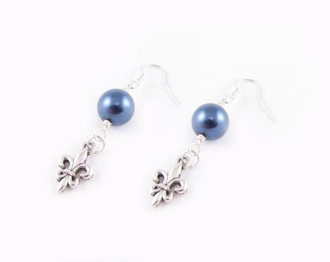 Silver Fleur De Lis Pearl Earrings - Jewelrylized  - 1