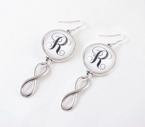 Silver Infinity Monogram Earrings, Eternity Earrings, Personalize Initial Earrings - Jewelrylized  - 1