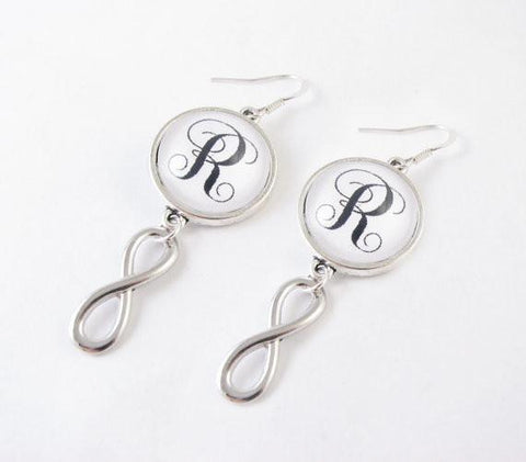 Silver Infinity Monogram Earrings, Eternity Earrings, Personalize Initial Earrings - Jewelrylized.com