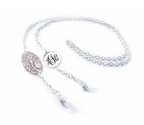 Siver Bird Monogram Eyeglass Chain Holder, Eyeglass lanyard reading glasses chain - Jewelrylized  - 1