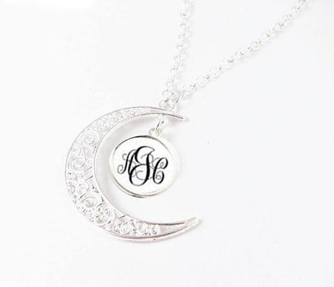 Silver Filigree Crescent Moon Monogram Personalized Necklace, Jewelrylized