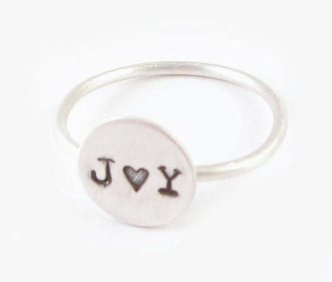 Personalized Sterling Silver Initial Hand Stamped Ring, Jewelrylized