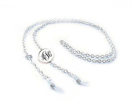 Monogram Cross Eyeglass Chain, Reading glasses chain holder, Religious Christian gift - Jewelrylized.com