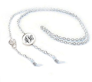 Silver Aztec Monogram Eyeglass Chain Holder, Eyeglass lanyard reading glasses chain - Jewelrylized.com
