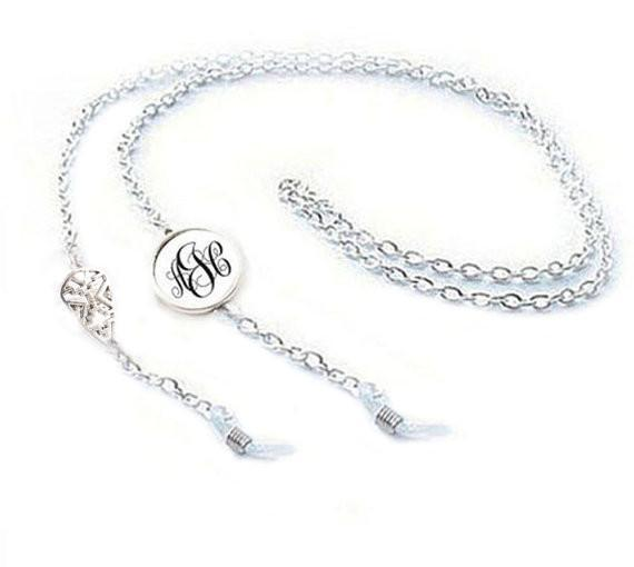 Silver Aztec Monogram Eyeglass Chain Holder, Eyeglass lanyard reading glasses chain - Jewelrylized