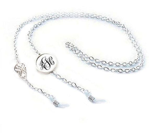 Silver Aztec Monogram Eyeglass Chain Holder, Eyeglass lanyard reading glasses chain - Jewelrylized  - 1