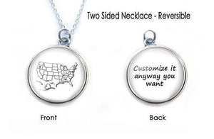 USA Map Necklace, Double-Sided Long Distance Friendship Necklace - Jewelrylized  - 1