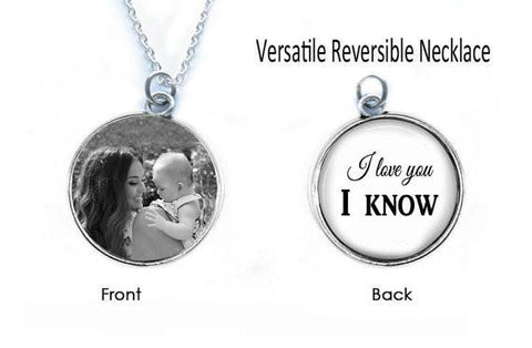 Custom Mother Daughter Son Necklace, Reversible 2 Sided Necklace - Jewelrylized  - 1