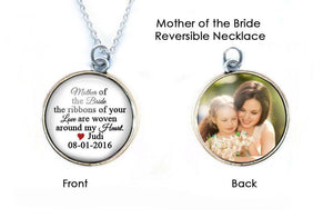 Personalize Mother of the Bride Necklace, Reversible Two-Sided Picture Necklace - Jewelrylized.com
