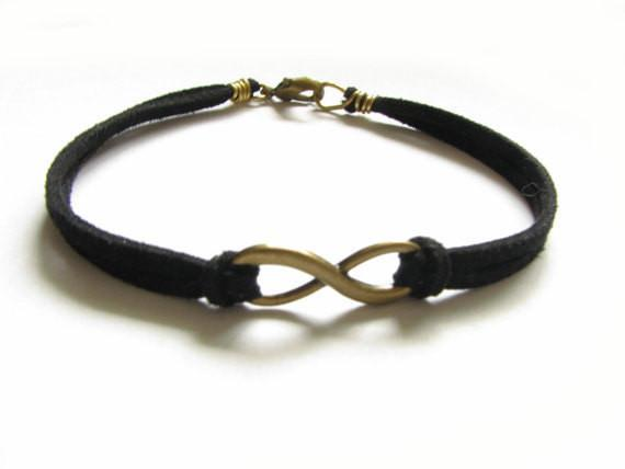 Bronze Infinity Leather Wire Wrapped Bracelet - Jewelrylized