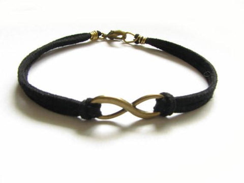 Black Suede Bronze Infinity Wire Wrapped Bracelet - Jewelrylized
