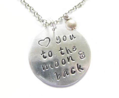 Hand Stamped Love you to the moon & back Silver Necklace - Jewelrylized