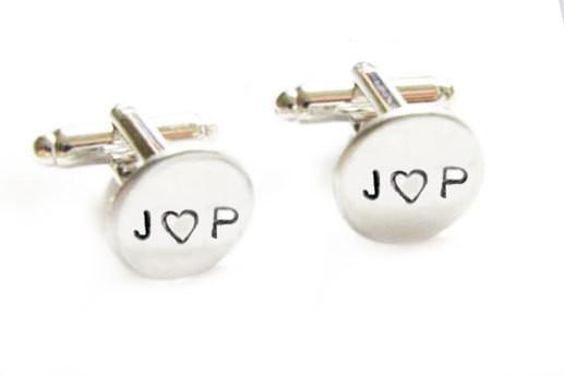Sterling Silver Initial Cufflinks, Hand Stamped Personalized Cuff links - Jewelrylized  - 1