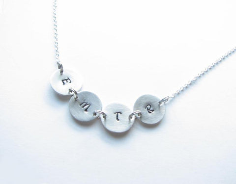 Four Initials Charm Hand Stamped Necklace - Jewelrylized.com