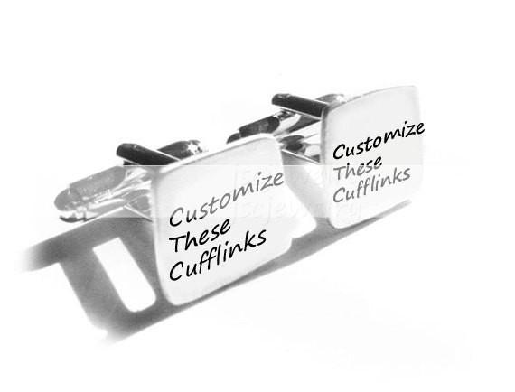 Square Personalized Cufflinks, Hand Stamped Cufflinks, Wedding Cufflinks - Jewelrylized  - 1