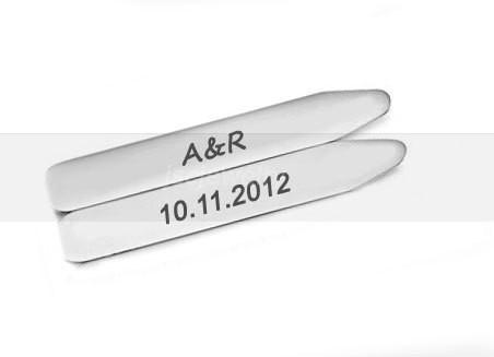 Personalized Collar Stays, Hand Stamped Collar Stays, Shirt Stiffener Stay - Jewelrylized  - 1