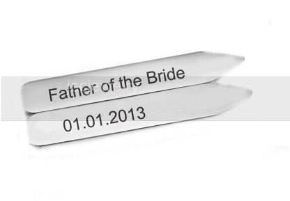 Wedding Collar Stays, Father of the Bride Hand Stamped Collar Stays, Shirt Stiffener - Jewelrylized