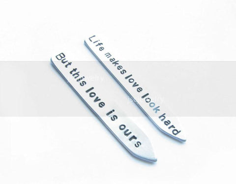Personalized Hand Stamped Collar Stays, Customize Shirt Stiffener - Jewelrylized.com