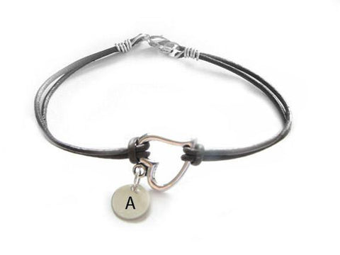 Heart Wire Wrapped Hand Stamped Initial Leather Bracelet - Jewelrylized