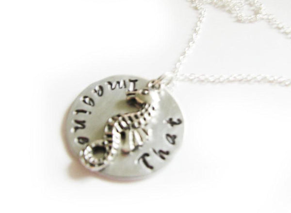 Seahorse Hand Stamped Necklace, Personalized Jewelry - Jewelrylized