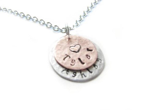 Two Layered Hand Stamped Personalized Hammered Necklace, Jewelrylized