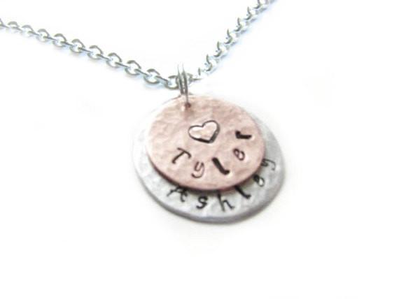 Two Layered  Hand Stamped Personalized Hammered Necklace - Jewelrylized  - 1