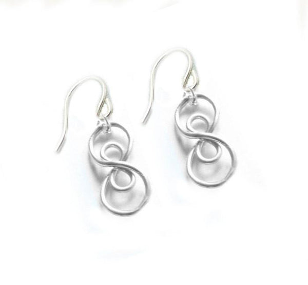 Wire Wrapped Double Infinity Sterling Silver Earrings - Jewelrylized  - 1