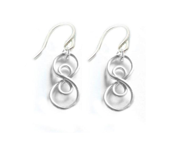 Wire Wrapped Double Infinity Sterling Silver Earrings - Jewelrylized