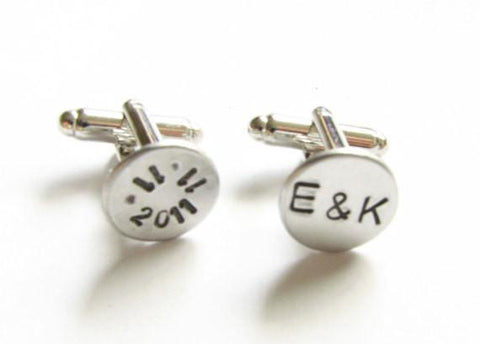 Wedding Initials Hand Stamped Cufflinks - Jewelrylized