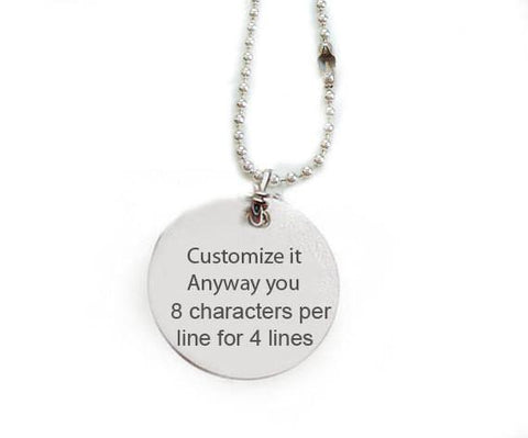 Hand Stamped Customize Necklace, Personalized it anyway you want pendant - Jewelrylized.com