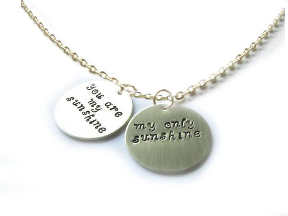 Sunshine Necklace You are my sunshine, Hand Stamped Pendant - Jewelrylized.com