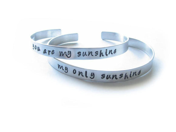 You are my Sunshine Cuff Bracelets, Personalized hand stamped Cuff - Jewelrylized