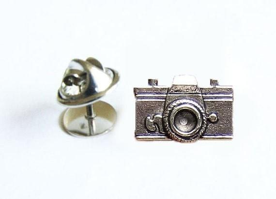 Antiqued Silver Camera Tie Tack, Tie Pin - Jewelrylized