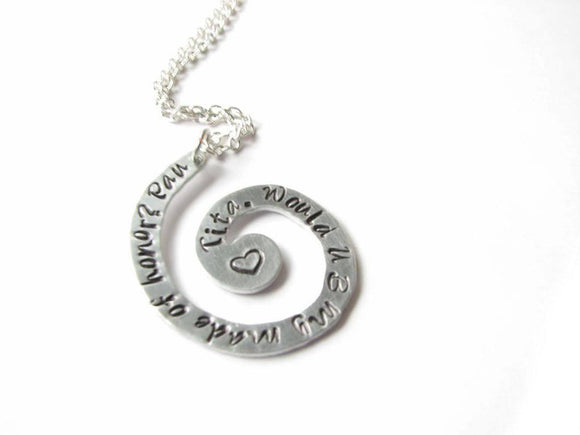 Silver Spiral Personalized Hand Stamped Necklace Pendant - Jewelrylized.com