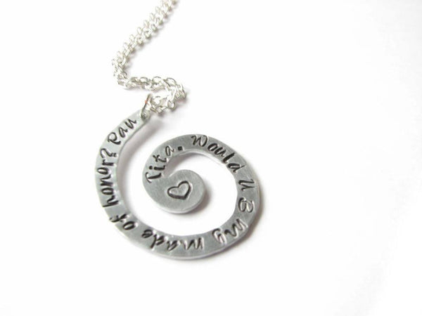 Silver Spiral Personalized Hand Stamped Necklace Pendant - Jewelrylized  - 1
