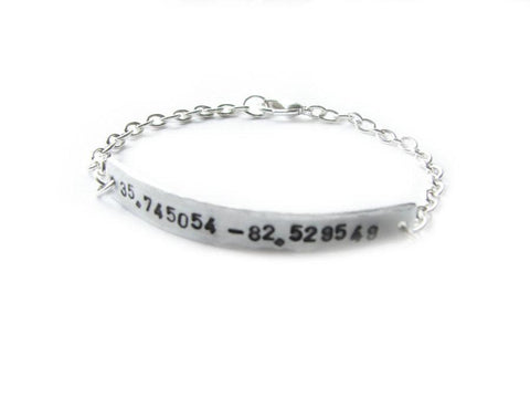 GPS Latitude Longitude Bracelet, Hand Stamped Hammered Silver Plated Chain linked Jewelry, Geekery Bracelet - Jewelrylized
