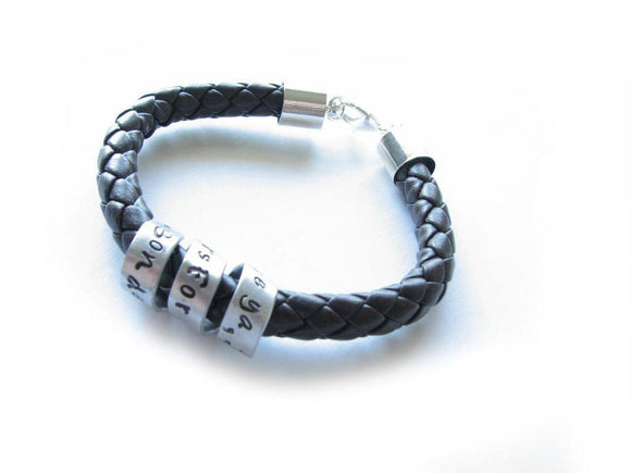 Spiral Braided Leather Bracelet, Unisex Custom Hand stamped Bracelet - Jewelrylized.com