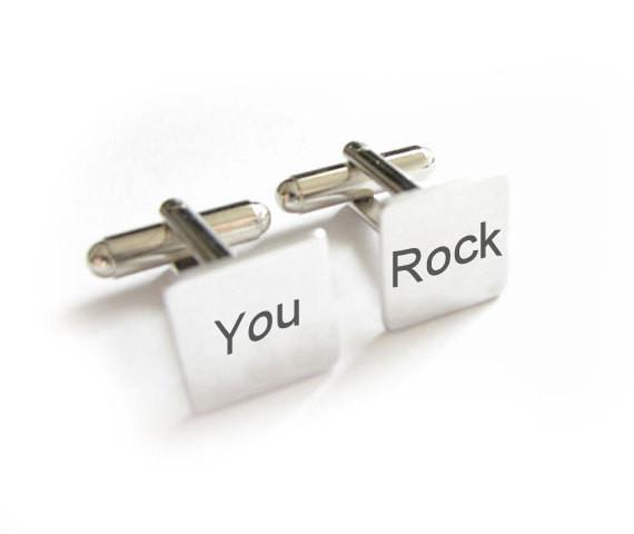 You Rock Cufflinks Hand Stamped Men Silver Cuff Links Personalized Fathers Gift - Jewelrylized  - 1