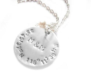 Latitude Longitude Necklace, Hand Stamped Personalized Initial Pendant - Jewelrylized.com