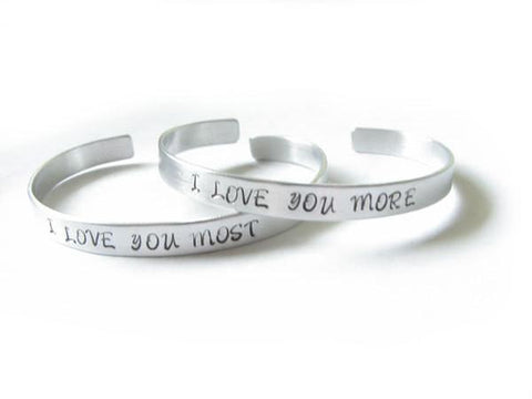 I love you More Most hand stamped Cuff Bracelet - Jewelrylized