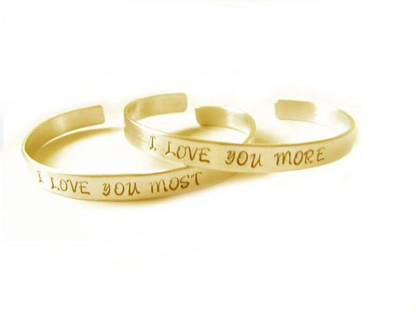 I love you More Most hand stamped Cuff Bracelet - Jewelrylized.com