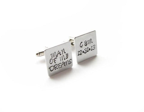 Man of My Dreams Square Personalized Hand Stamped Wedding Cufflinks - Jewelrylized