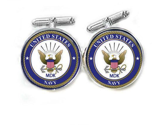 Silver Navy Personalized Cufflinks - Jewelrylized.com