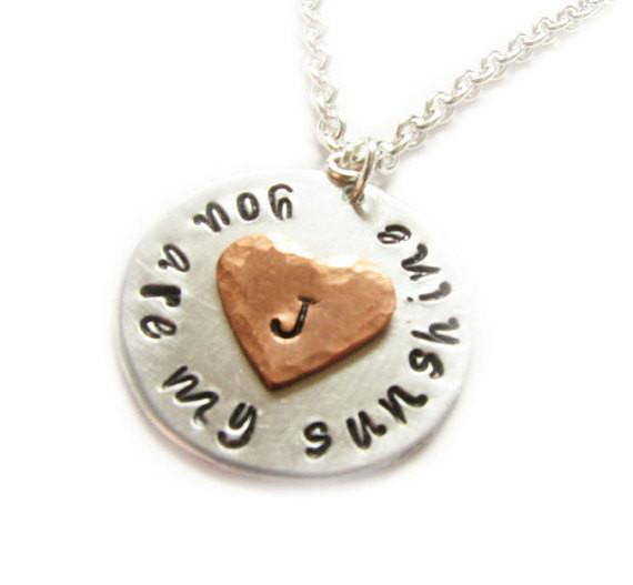 Sunshine Heart Necklace, You are my sunshine, Hand Stamped Initial Pendant - Jewelrylized.com