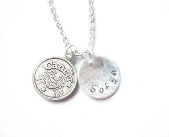 Zodiac Charm Hand Stamped Necklace - Jewelrylized