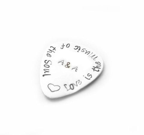 Music Personalized  Guitar Pick, Hand Stamped it anyway you want - Jewelrylized