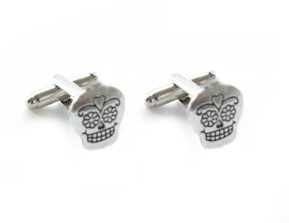 Silver sugar skull cufflinks - Jewelrylized.com