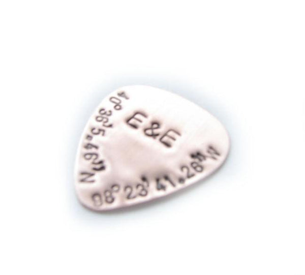 Unique Latitude Longitude Guitar Pick, Personalized Hand Stamped Guitar Pick - Jewelrylized  - 1