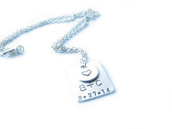 Square Hand Stamped Personalized pendant - Jewelrylized